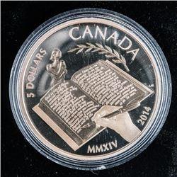 RCM 2014 Alice Munro .999 Fine Silver $5.00  Coin. Mintage 7500