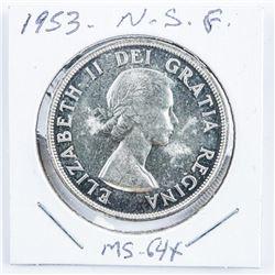 1953 Canada Silver Dollar NSF. MS64X