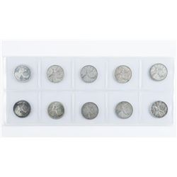 Group of (10) Caribou Silver Canada 25 Cents
