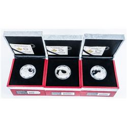 Group of (3) RCM Lunar Lotus Issues, .999  Fine Silver $15.00 Coins 'Ox, Pig, and  Rooster' LE