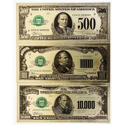 Group (3) 24kt Gold USA Collector Notes, 500,  1000 and 10,000