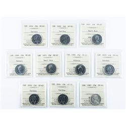 Group of (10) Canada 25 Cents. ICCS. Cert