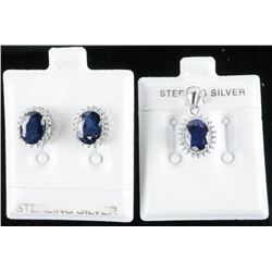 925 Sterling Silver Earrings and Pendant Set,  Oval Blue Sapphire and Swarovski Elements  44ct.