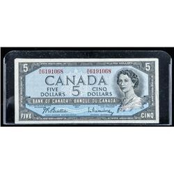 Bank of Canada 1954 5.00 B/R Note