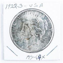 1922(S) USA Peace Dollar MS64