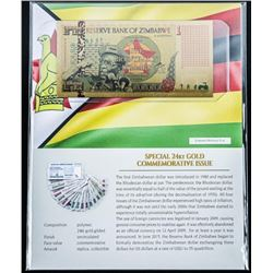 Reserve Bank of Zimbabwe 24kt Gold Gilded One  Bicentillion Dollars Commemorative Note and  Art Card