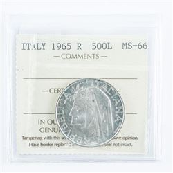ITALY 1965R - 500L - MS66 Silver Coin ICCS