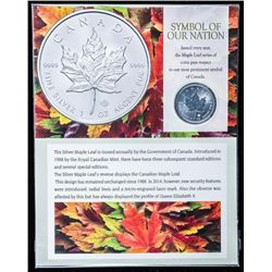 RCM Maple Leaf $5.00 Coin, .999 FIne Silver  1oz Coin with Art Card