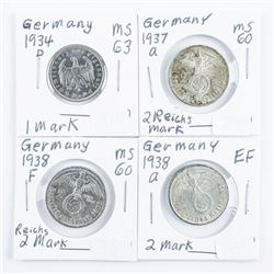 Group of (4) Germany 2 Reichsmark 1934D,  1937a, 1938a, 1938F Coins with Swastika on  Rear of Coin