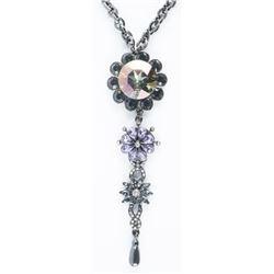 925 Silver/Black Gold Plating, Handmade  Designer Necklace 153ct Coloured Swarovski  Elements 117gra