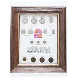 """Newfoundland Coins - 15 Coin Collection  Silver Years, 4 British Monarchs. Framed  11x12"""""""
