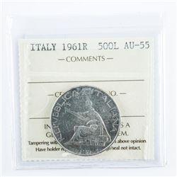 ITALY 1961R - 500L - AU55 ICCS