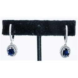 925 Silver, Drop Earrings 3.16ct Oval Blue  Sapphires and 70cz. TRRV: $1160.00