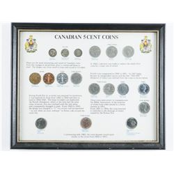 Canadian 5 cents Coins - Most Interesting and  Varied of Canadian Coins. Nice Collector  Frame.