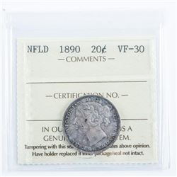 NFLD 1890 Silver 20 Cent. VF-30 ICCS