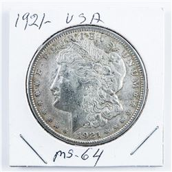 1921 USA Silver Morgan Dollar MS64