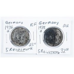 Lot (2) Germany - 5 Reichsmark 1935a and  1936a .8032 ASW