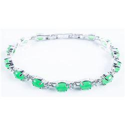 925 Sterling Silver Bracelet Cabochon Jadeite  and Swarovski Elements