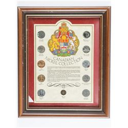 Canadian Nickel Collection (11) Coins -  Framed 1922-1950 Eras. 8x10