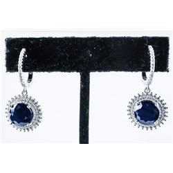 925 Sterling Silver Earrings (2) Round Cut  Natural Blue Sapphires , 138 'CZ' (8.38ct)  TRRV: $2295.