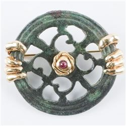 Celtic Roman, 200 A.D. Bronze Open Work, Set  with Dragon Claws From Celtic Mythology.  Symbol of Ma