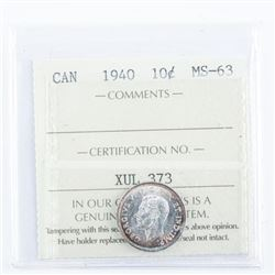 1940 Canada Silver 10 cent. MS63. ICCS