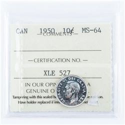 1950 Canada 10 Cents MS64. ICCS