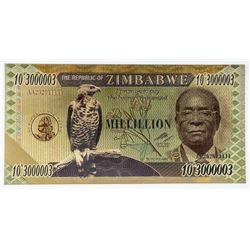 Zimbabwe Million 24kt Gilded Note