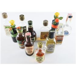 Estate Group (12) Mini Bar Bottles, Most  Full, Vintage Bottles, Usually From Airplane  Flights.