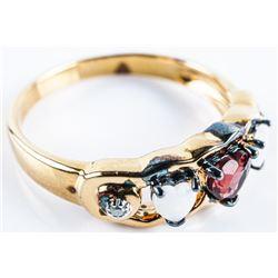 BRADFORD EXCHANGE - Ring Heart Cut Opals and  Garnet