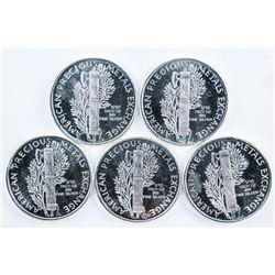 Lot (5) .999 Fine Silver Mercury USA Dimes