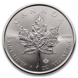 "2021 Royal Canadian Mint .9999 Fine Silver 5.00 Maple with Maple Leaf Privy ""21"". Very Collectible."