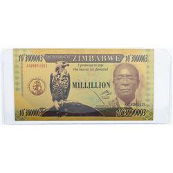 Reserve Bank of Zimbabwe Million Dollars 24k  Gold Leaf.