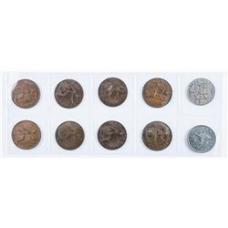 Group of (10) Great Britain Large cent etc