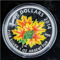 RCM 2014 'Maple Leaves' .999 Fine Silver  $20.00 Coin