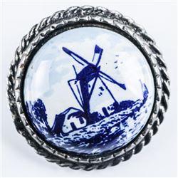 Handmade Sterling Silver Pin/Delft Blue