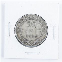 1918 NFLD Silver 50 Cent