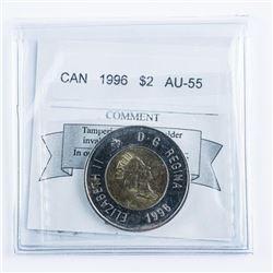 1996 CANADA Two Dollar Coin AU55. 'CM' Cert