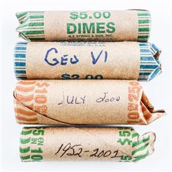 Group (4) Rolls Canadian Coins, 2x 10 Cents -  1 x 5 cents, 1 x 25 cents - 180 Coins