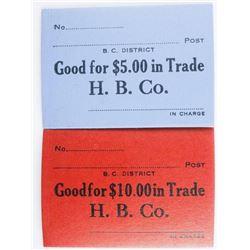 Hudson's Bay Company Fur Trade Scrips: 5.00  and 10.00 Denomatic Scarce
