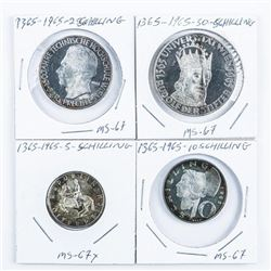 Group of (4) 1365-1965 Silver - 5, 10, 25, 50  Shilling Coins. MS67