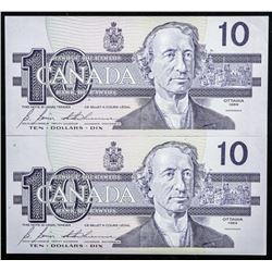 Lot (2) Bank of Canada 1989 10.00 GEM UNC  Note