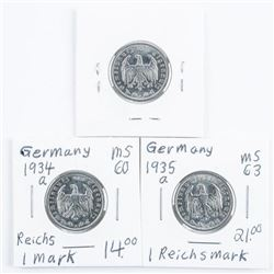 Group (3) Germany - 1 Reichsmark 1934a,  1935a, 1937a (MS)