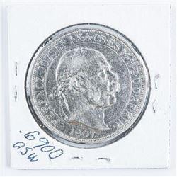 Hungary 1907 Silver 5 Korona .6900 Silver