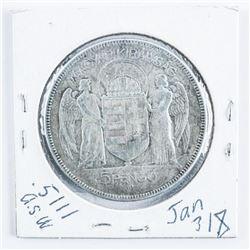 Hungary 1930 Silver 5 Pengo