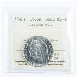 ITALY 1965R - 500L - MS65 Silver Coin ICCS