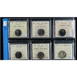 Group (6) Canada 25 Cents ICCS Cert