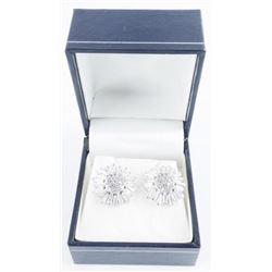 925 Sterling Silver Earrings, Wagon Wheel  Design Swarovski Elements.
