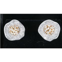 925 Sterling Silver Earrings, Shell Shape  with Swarovski Elements.