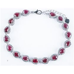Custom 925 Sterling Silver Bracelet, 17 Pear  Cut Glass Filled Ruby - 9.35ct and 306 'CZ'  (12.35ct)